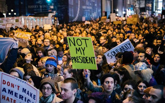 Street protesters reject Trump's agenda.